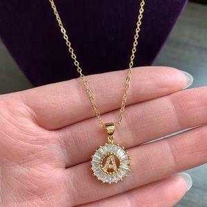 """New 18K gold """" A """" CZ diamond necklace"""